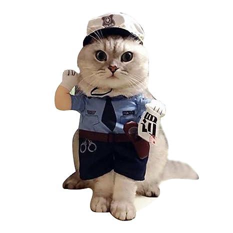 JINZFJG Disfraz de Corbata Policía Traje Uniforme para Mascotas Doméstico Gato Perro para Halloween Navidad,