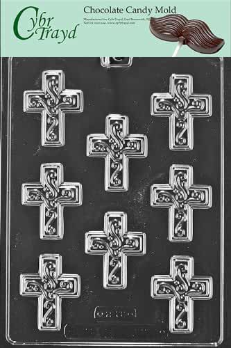 Cybrtrayd R075 Small Cross with Swirl Chocolate Candy Mold with Exclusive Cybrtrayd Copyrighted Chocolate Molding Instructions plus Optional Candy Packaging Bundles