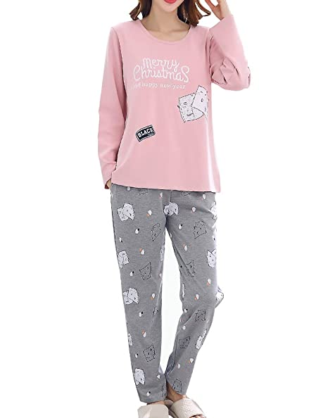 Image Unavailable. Image not available for. Color  Vopmocld Big Girls Long  Sleeve Pajama Sets Christmas Cartoon Bear Sleepwear Cotton Pjs c60917d17