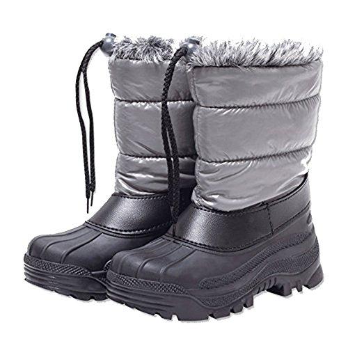 Schneestiefel für kinder Warme wasserdichte 31-32 Grau-Schwarz