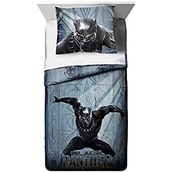 TN 2 Piece Kids Grey Blue Black Panther Comforter Twin/Full Set, Childrens Marvel Bedding Cat Superhero Themed Action Movie Character Yellow, Polyester