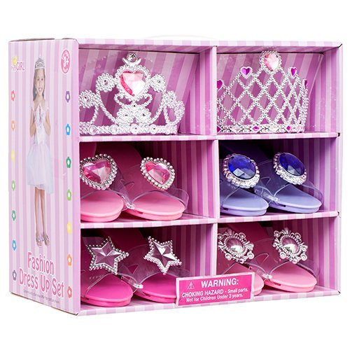 Great Girls Play Set! Princess Dress Up & Play Shoe and Tiara (Includes 4 Pairs of Shoes + 2 Tiaras ) By Blue Green Novelty 06989001800