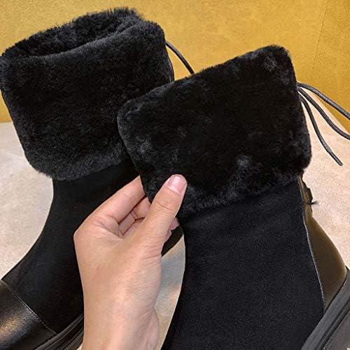 MSSugar Bottes pour Femmes Bottes à Talon Plat à Bout Rond Bottes à la Mode d\'hiver à Lacets Hiver,Black,35