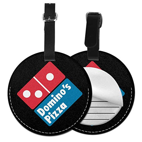 Round Leather Luggage Tags Domino's Pizza Name ID Labels For Travel Suitcase Baggage Bag Set Of 2 (Dominos Best Pizza Name)