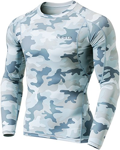 Tesla TM-MUD11-MLG_X-Small Men's Long Sleeve T-Shirt Baselayer Cool Dry Compression Top MUD11 by Tesla