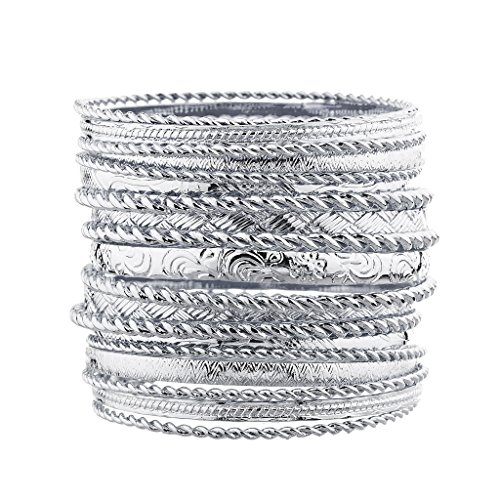 Lux Accessories Flower Mixed Metal Aztec Multi Bangle Set Shiny (Womens Silver Bangle)