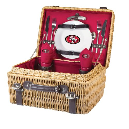 NFL San Francisco 49ers Champion Picnic Basket with Deluxe Service for Two, Red by PICNIC TIME