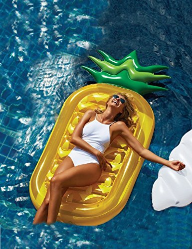 3 BEES® Giant Pool Floats,Best Swimming Pool Pineapple Shaped Inflatable Raft for Adults and Kids Pool Loungers,Inflatable Lounge Bed with Free Inflator - Epacket Rates