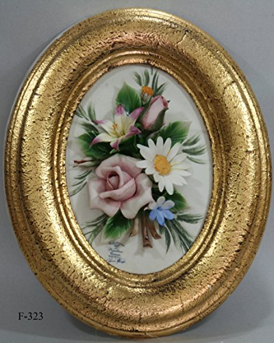 Flower Panel in Capodimonte Porcelain From Italy with Rose Daisy & Violet