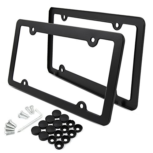 Stainless steel license plate, Black car license plates, slim and sleek design, Rust proof, corrosion resistant, black matt finish, durable, sturdy, 2 pcs with bolts license plate, US standards
