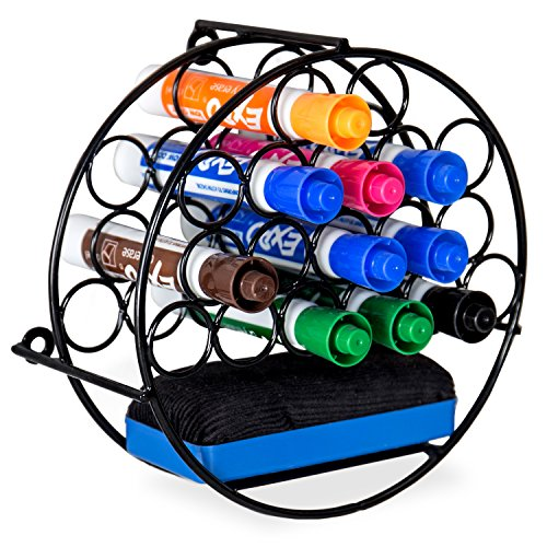MyGift 18-Slot Wall-Mounted Round Metal Dry-Erase Marker &