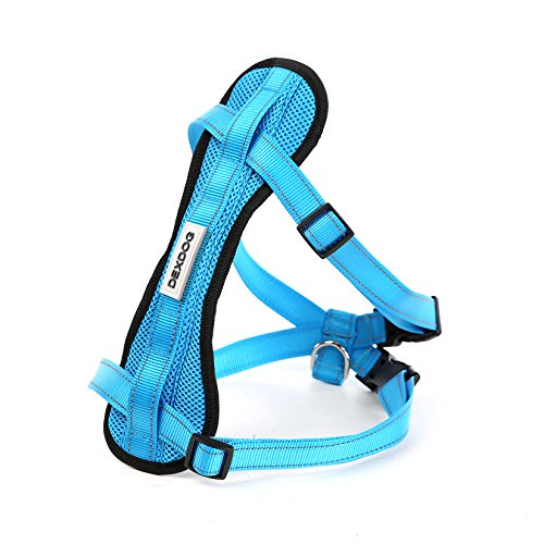 Chest Plate Harness by DEXDOG | Auto Car Safety Harness | Adjustable Straps, Reflective, Padded for Comfort | Best Dog Harness Small Large Dogs (Blue, Small)