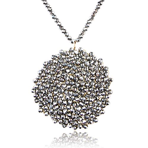 RIAH FASHION Bohemian Pendant Beaded Long Statement Necklace - Sparkly Crystal Bead Boho Braided Disc Wired Round Circle Charm (Round - Rhodium)