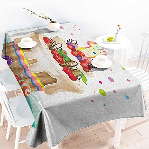 Butterfly Meadow Candlestick - EwaskyOnline Custom Tablecloth,1st Birthday Baby First Party Festive Cake with Forest Fruits and Candlestick Image Print,Party Decorations Table Cover Cloth,W52x70L, Multicolor