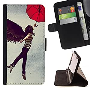 - Abstract Flying Girl Umbrella/ Personalizada del estilo del dise???¡¯???¡Ào de la PU Caso de encargo del cuero del tir???¡¯????n del s - Cao - For HTC D