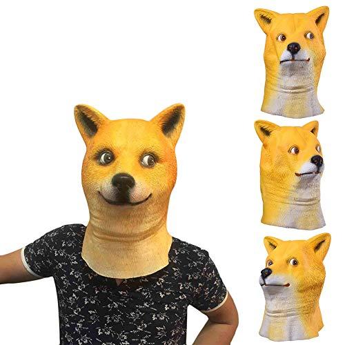 Party Masks - Latex Animal Mask Full Face Shiba Inu Cosplay Party Costume Prop - Pocket Tool Keychain Mask Aloe Party Masks Latex Mascara Carburador Stihl Shiba Akita Pillow Umaru -