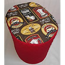 Quilted Morning Coffee Themed Keurig Coffee Brewing Systems Cover (K300, K350, K400, K450, K500, & K550, Red)