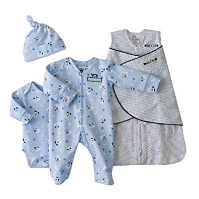 HALO 4-Piece Cotton Layette and Swaddle Set by HALO