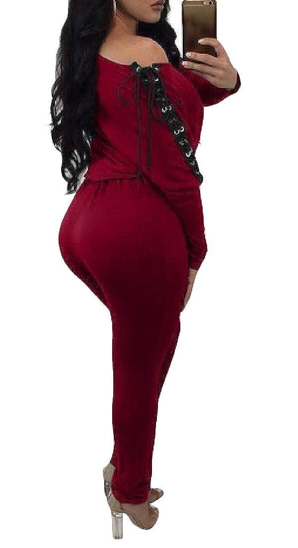 Etecredpow Womens Off Shoulder Eyelet Comfortably Lace Up Elastic Waist Playsuit Jumpsuits