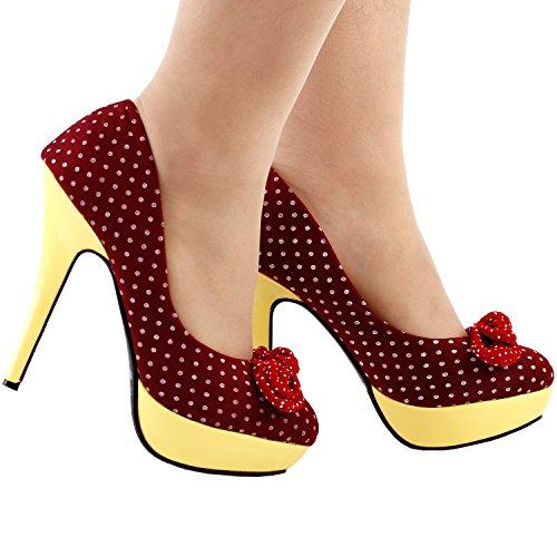 Stiletto High Heel Dots Polka Bow Show Hot Pumps Red Platform Story LF30426 Womens Oq0YwUzC