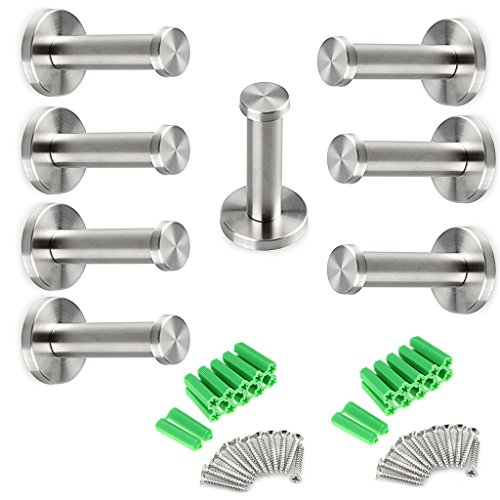 Sumnacon Brushed Stainless Steel Towel Hook, 8 Pcs Wall Mount Robe Coat Hangers Holder - Heavy Duty Contemporary Towels Hooks for Bedroom, Bathroom, Living Room, Fiting Room, - Contemporary Coat