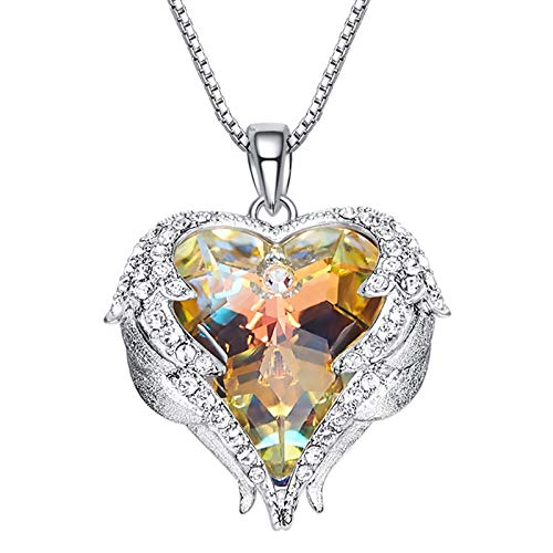 SNOWH Womens Sterling Silver Necklace - Angel Wing Gemstone Pendant Necklaces with Swarovski Crystals for Women Mom Girlfriend Multicolor ()