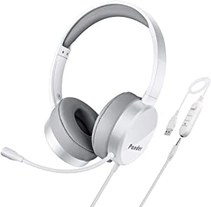 USB Headset with Microphone, Pander Noise Cancelling 3.5mm Computer PC Headset, Lightweight Wired Business Headphones with Volume Control for Skype, Webinar, Phone, Call Center-White