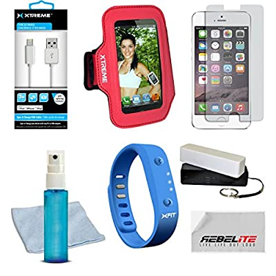 Special Edition Fitness Kit for the Iphone 6, 6 Plus, 5s, 5c, 5, 4, 4s, Samsung Galaxy S5, S4, S3 - Kit Includes Xfit Wireless Bluetooth Activity / Fitness Tracker , 2 1800 Super Slim Battery Packs (3600MAh in total) with Key chains & Home Charger, Indest
