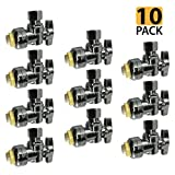 PROCURU PushFit Angle Stop Valve 1/2'' Nom x 3/8'' OD Compression, Quarter-Turn ON/Off for Bathroom Fixtures - Faucet, Toilet Supply Shut-Off - Lead Free Certified (10-Pack)