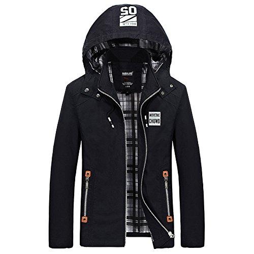 THWS Uomini soprabito shirt cappotti giacca a vento Sau San con cappuccio, nero ,XXXXL