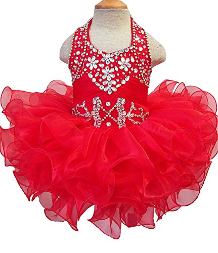 Junguan Toddler Girls Pageant Party Cupcake Dress Baby Short Gowns 3 US Red ()