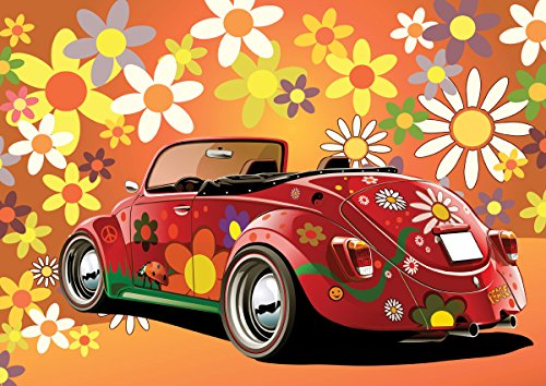 (JP London MDXL3025PS Peel and Stick Beetle Buggy Peace Retro 60's Removable Full Wall Mural, 12' x 8.5')