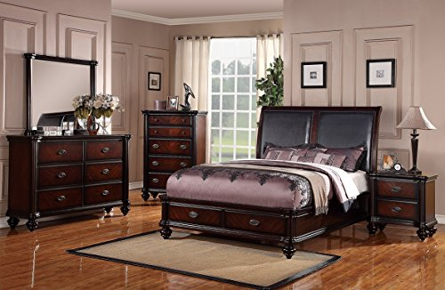 Traditional Italian Design Bedframe Bedroom Furniture 4pc Set Eastern King Size Bed w Storage FB Dresser Mirror Nightstand Faux Leather HB Upholstery
