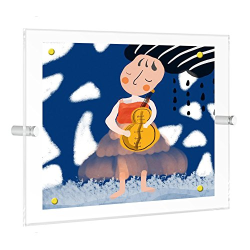 NIUBEE Kids Artwork Display,11x17 Wall Art Frame for Child Artwork Floating Display, Clear Magnetic Acrylic Wall Mount Frameless Collage Picture Frames-Single Panel(Full Frame is 14x18 inch) by NIUBEE