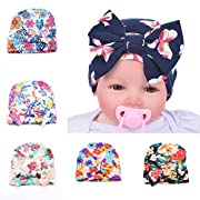 6pcs Infant Baby Newborn Hospital Bowknot Flower Hat