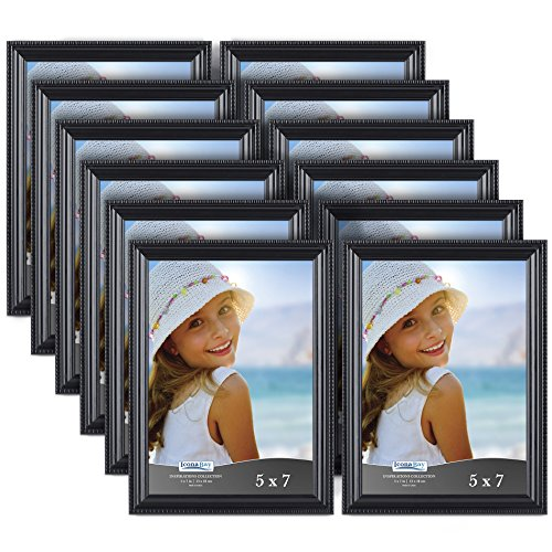 Icona Bay Black Picture Frames Bulk Set (5 x 7 Inch, 12 Pack), Wall Mount Hangers and Table Top Easel Included, Display Horizontally or Vertically, Inspiration Collection