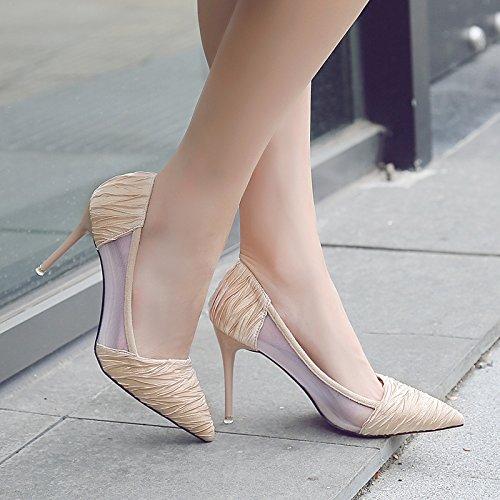 Xue Qiqi high-heel Schuhe Frauen mit feiner Spitze Sandalen atmungsaktiv net Garn Frauen Schuhe schwarz wild jährliche Treffen mit Mutter Schuh 39 beige 9 cm