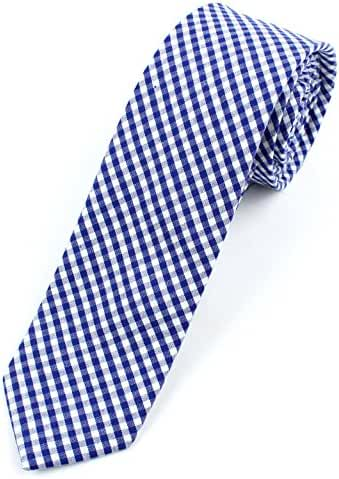 Men's Cotton Skinny Necktie Tie Gingham Checkered Pattern - 2 1/2