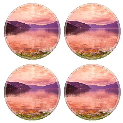 Liili Natural Rubber Round Coasters Image Id 39021222 Sunset In Fjord Hardanger Norway Nature And Travel Background