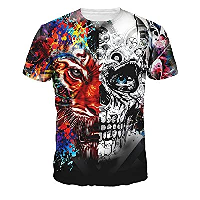 Velynce Unisex Thin Shirts Stylish 3D Digital Printed Lion Skull Casual Personality T-Shirts Couple Clothing