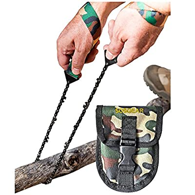 """Pocket Chainsaw by SOS Gear, Emergency Survival Gear Hand Saw with Camo Pouch, Snap Closure and Belt Loop for Campers, Hunters, Fisherman and Backpackers, Chain Saw Available in 24"""" and 36"""" by SOSGEAR"""