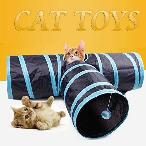 EIFPT Cat Tube 3 Way Collapsible Cat Tunnel Cat Toys with Peek Hole for Cat, Puppy, Kitty, Kitten, Rabbit