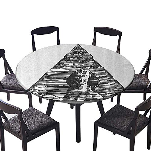 Round Fitted Tablecloth Sketch Style of The Sphinx and The Pyramid Old Ancient Empire Historical Indoor or Outdoor Parties 43.5