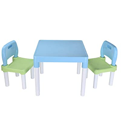 Plastic Kids Table and 2 Chairs Set - Toddler Table and Chair Set - Detachable Kid's Picnic Table - Portable Chair Table Set for Outdoor Kids - Create A Fun Space for Children's to Learn and Play: Kitchen & Dining
