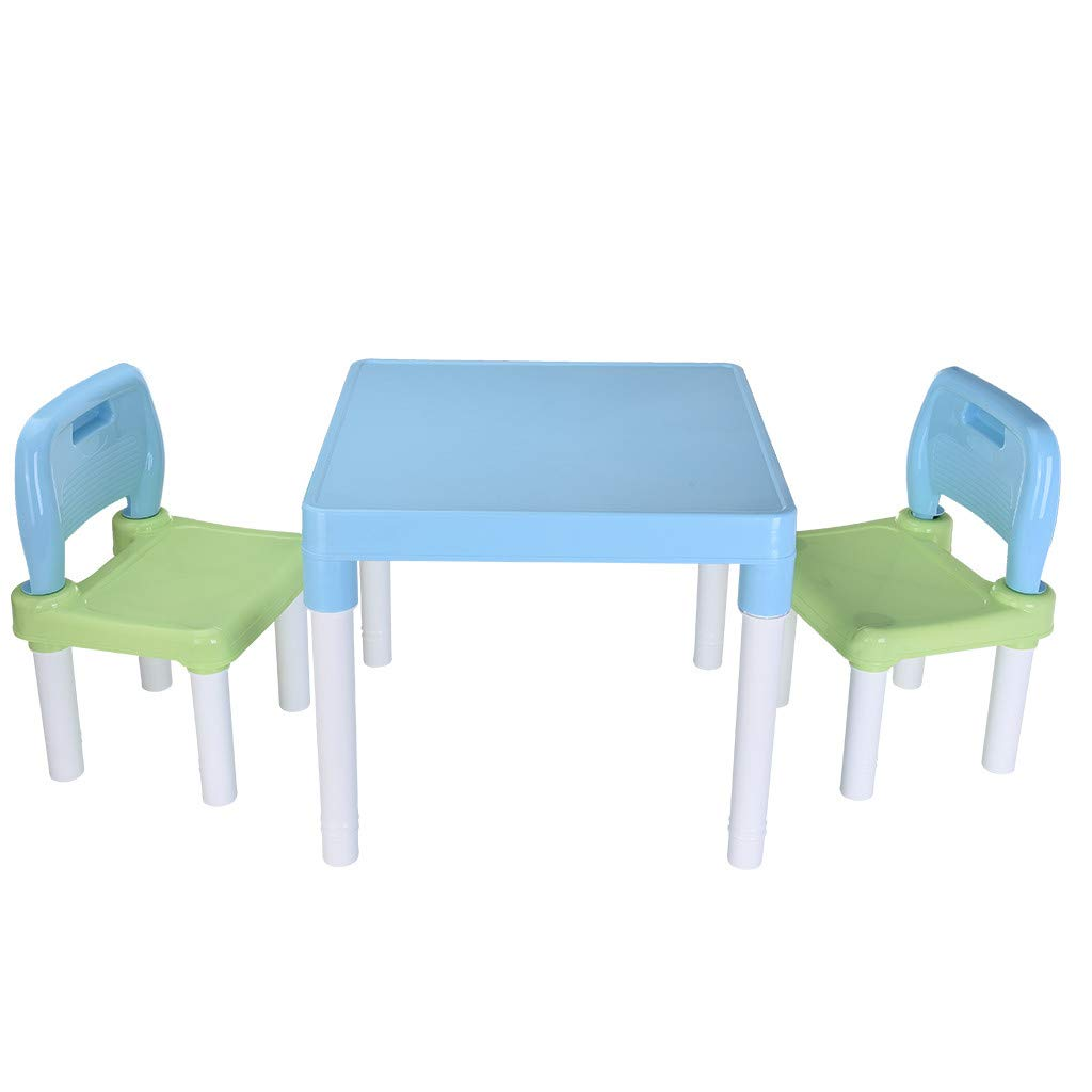 HSada Children's Study Table Set - Plastic Kids Table and 2 Chairs Set for Boys Or Girls Toddler Kindergarten Children's Chair Painting Chair Kids Furniture Set - Ship from US Warehouse