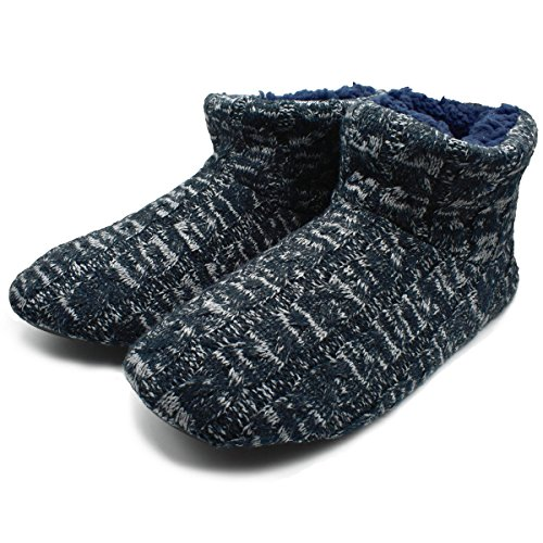 SunbowStar Men's Faux Fur Lined Knit Anti-Slip Indoor Slippers Boots House Slipper Bootie,Navy Blue-11 D(M) US by SunbowStar