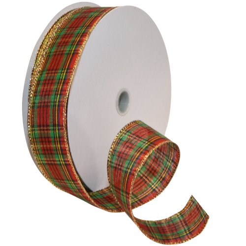 Morex Ribbon Festival Wired Plaid Fabric Ribbon, 1-1/2-Inch by 50-Yard Spool, Red