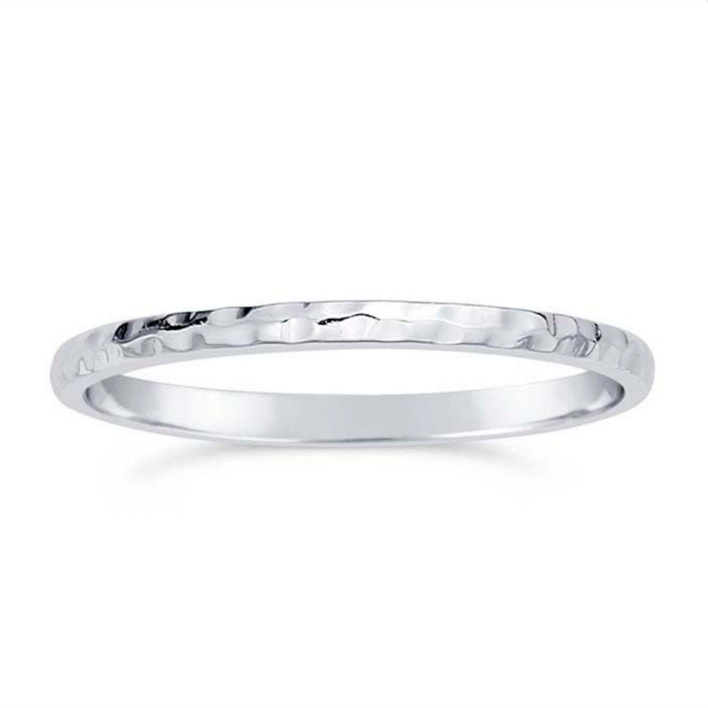 Dainty Hammered Stackable Ring, Simple Sterling Silver Jewelry Gift, Eternity Band for Mom & Children (8)