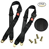 #6: Universal Lap Seat Belt, 2 Point Adjustable Safety Harness Kit, for Go Kart/UTV/Buggies/Club Golf Cart/Van/VR/Truck/Bus/Cars and Vehicles, 2 Pack in Black