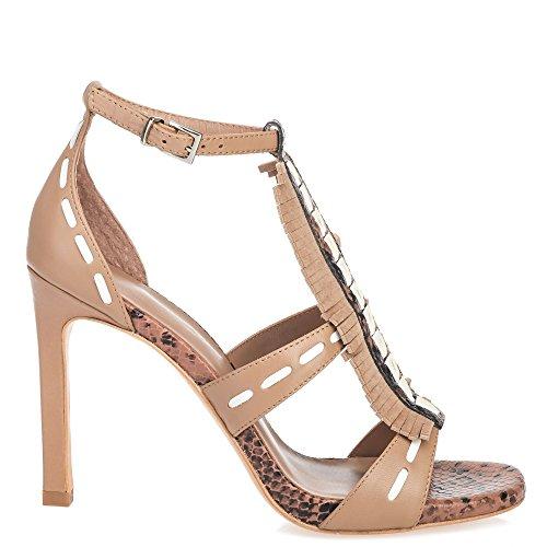 Lola Cruz Mujer sandaletten con flecos marrón